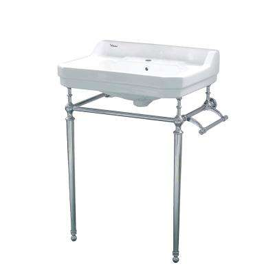 Victoriahaus Console in White with Metal Legs in Chrome