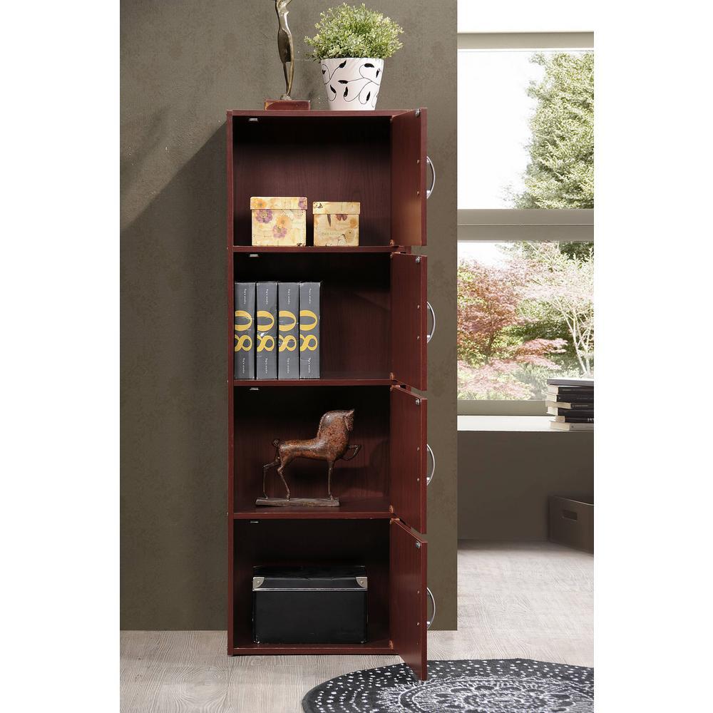 Black Finish 47.4 in Tall 4-shelf Standard Wood Bookcase w// Cabinet Doors