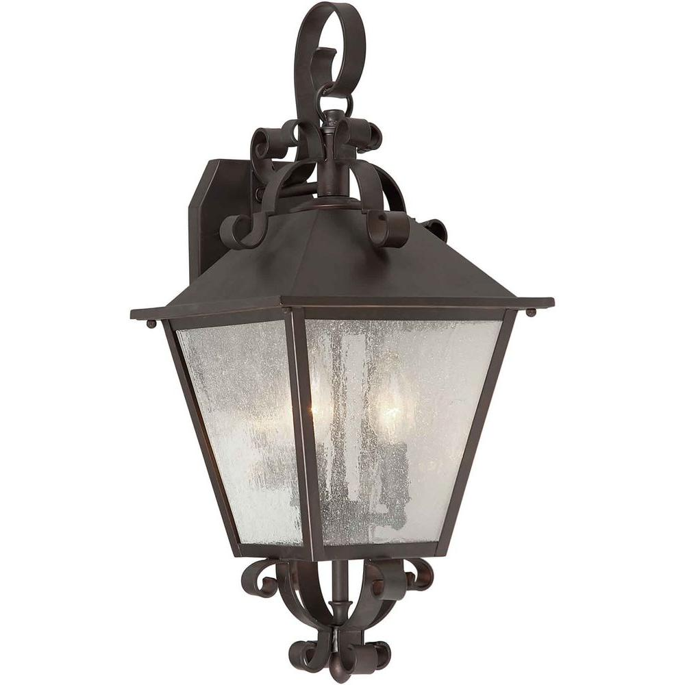 Talista 3-Light Outdoor Antique Bronze Wall Lantern with Clear Seeded Glass