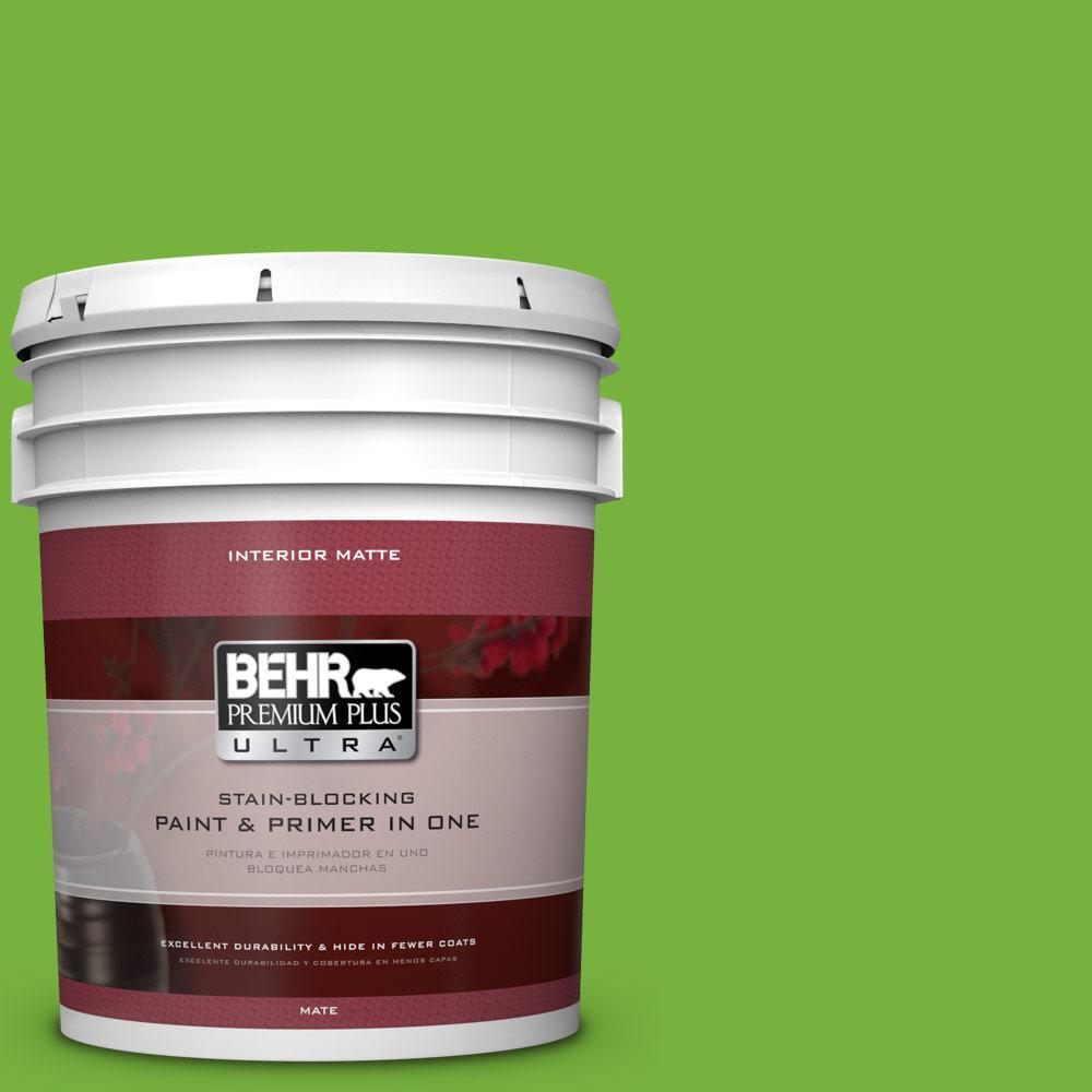 BEHR Premium Plus Ultra 5 gal. #S-G-430 Sparkling Apple Flat/Matte Interior Paint
