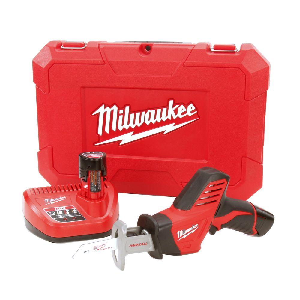 M12 12-Volt Lithium-Ion HACKZALL Cordless Reciprocating Saw W/ (2) 1.5Ah