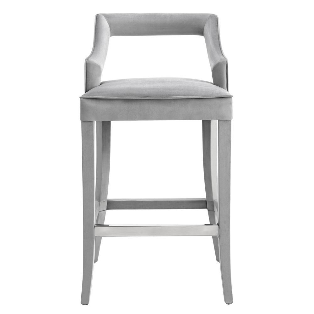 Gentil TOV Furniture Tiffany Grey Velvet Counter Stool