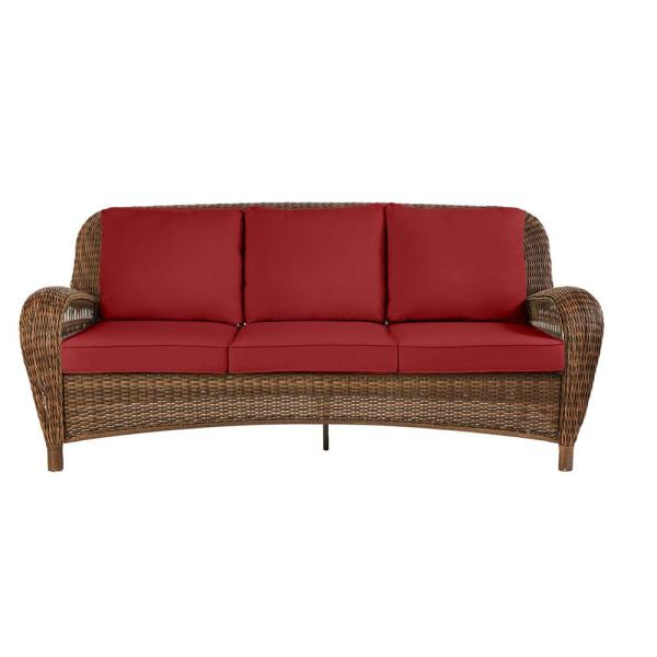Beacon Park Brown Wicker Outdoor Patio Sofa with CushionGuard Chili Red Cushions