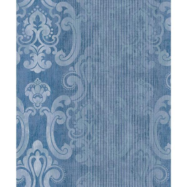 Advantage 57.8 sq. ft. Ariana Dark Blue Striped Damask Wallpaper 2810-SH01044