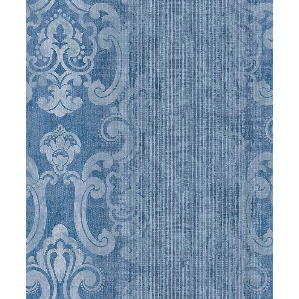Ariana Dark Blue Striped Damask Wallpaper Sample