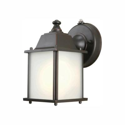 1-Light Oil-Rubbed Bronze Outdoor Dusk-to-Dawn Wall-Mount Lantern Sconce