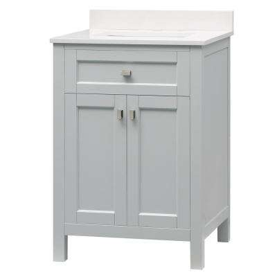 Juniper 24 in. x 21 in. Bath Vanity in Dove Gray with Engineered Marble Vanity Top inYves Whitew/White Ceramic Basin