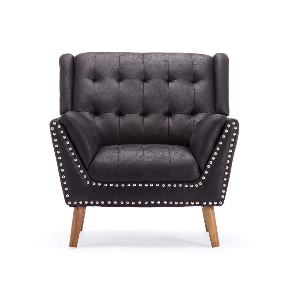 Delia contemporary tufted black microfiber club chair with nail head accents
