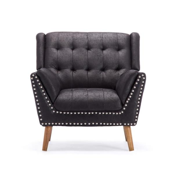 Noble House Delia Contemporary Tufted Black Microfiber Club Chair with Nail