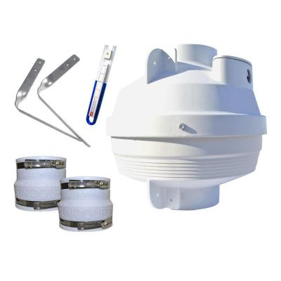 Radon Mitigation Fan Kit 4 in. Fan with 4 in. to 4 in. Couplers and Air Pressure Indicator