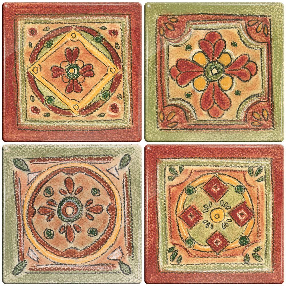 Smart Tiles 3-11/16 in. x 3-11/16 in. Multi-Colored Peel and Stick New Mexico Motif Decorative Wall Tile (4-Pack) - DISCONTINUED