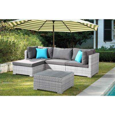 FRESCO 5-Piece All-Weather Light Gray Wicker Patio Sectional Set with Gray Cushions