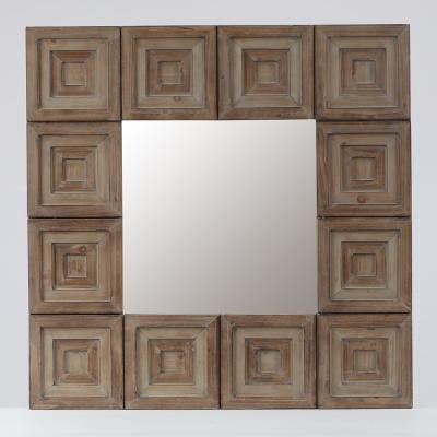 Medium Square Brown Modern Mirror (31.5 in. H x 31.5 in. W)
