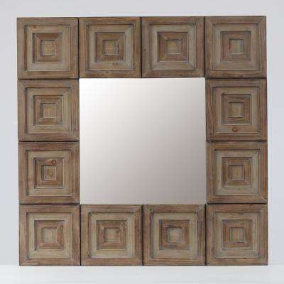 Brown Aztec Square Wall Mirror