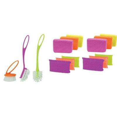 Loop Brush Set with Scrub Sponge and Microfiber Sponge 6-Pack