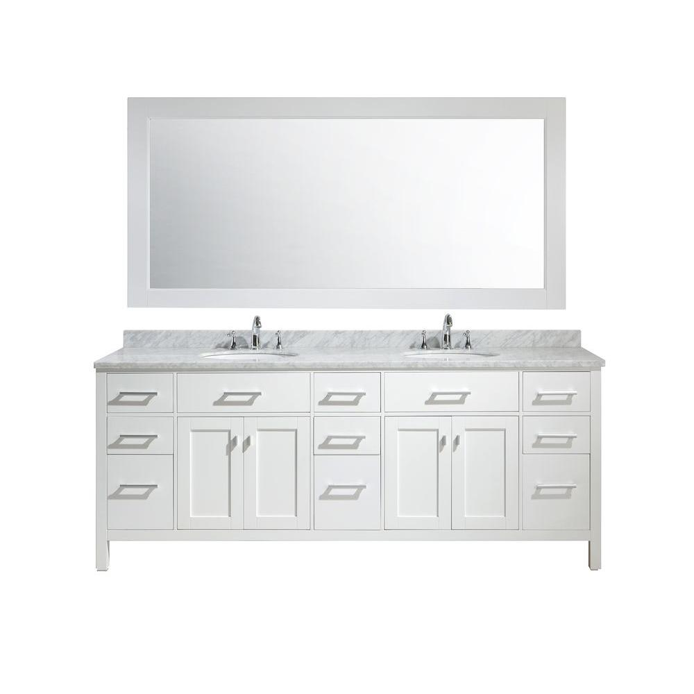 Design Element London In W X In D X In H Vanity In White - 84 bathroom vanities and cabinets