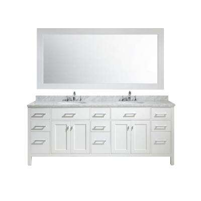 London 84 in. W x 22 in. D x 35 in. H Vanity in White with Marble Vanity Top in Carrara White, Basin and Mirror