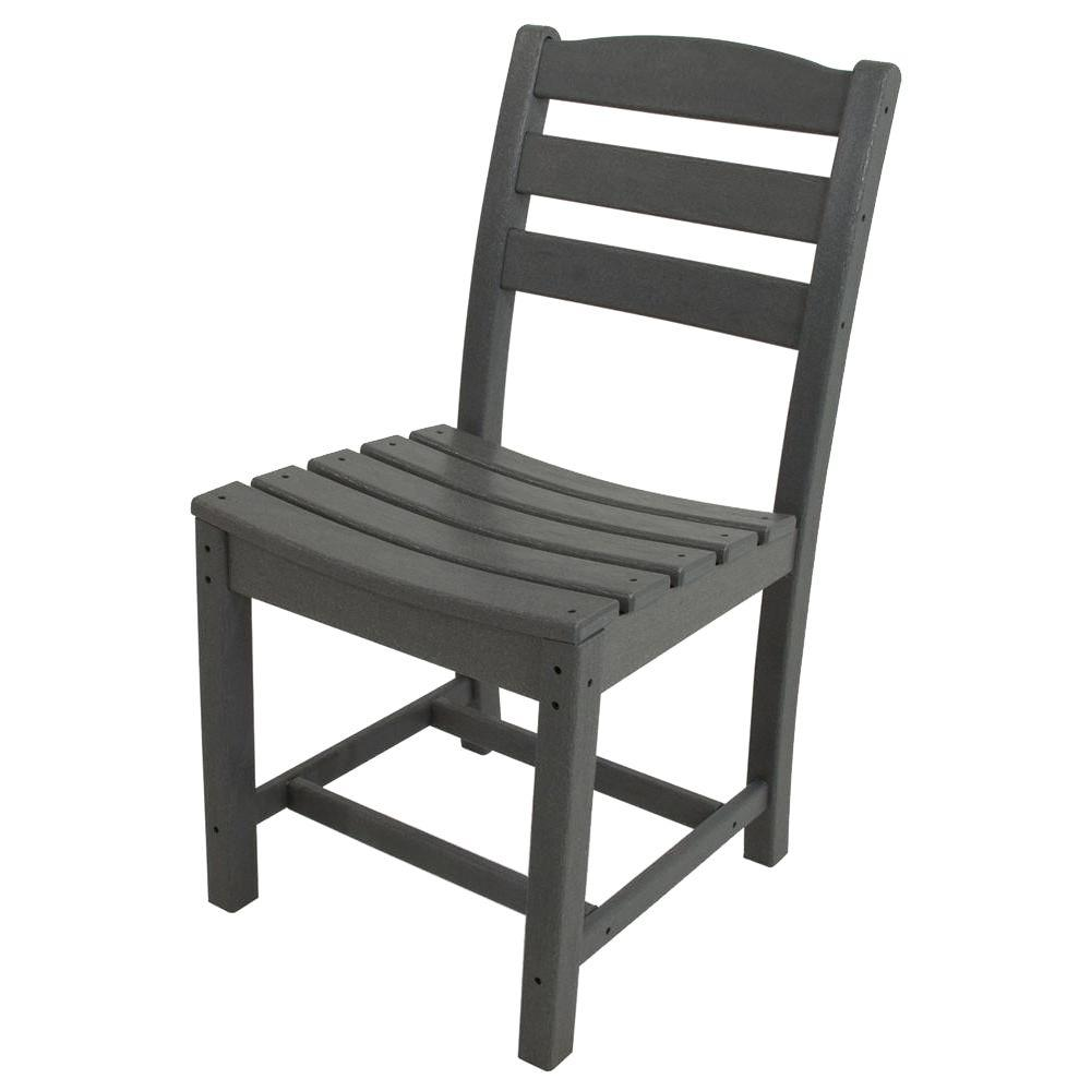 La Casa Cafe Slate Grey All-Weather Plastic Outdoor Dining Side Chair