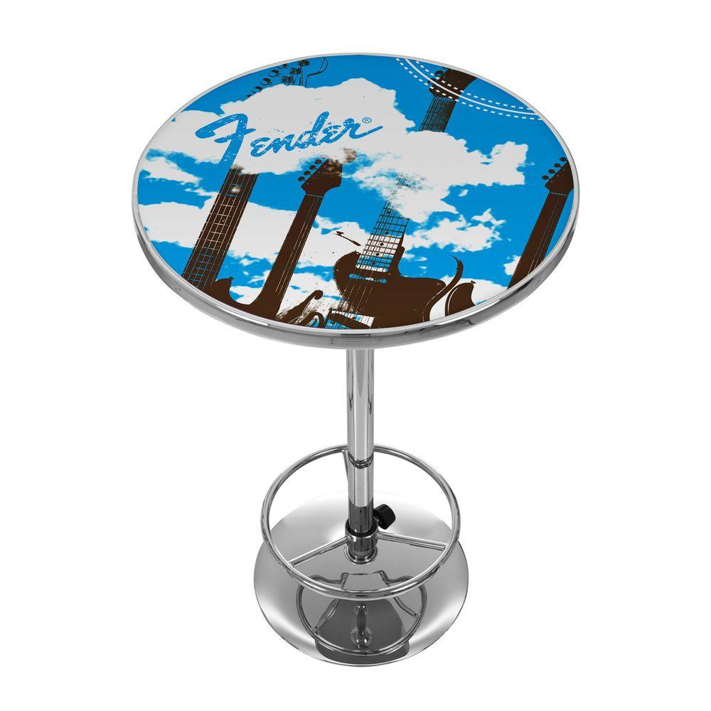Trademark Fender Guitar in The Clouds 42 in. H Pub Table in Chrome