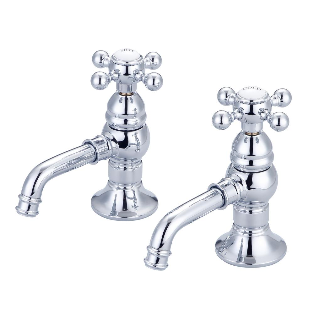 Water Creation 8 in. Widespread 2-Handle Basin Cocks Bathroom Faucet in Triple Plated Chrome