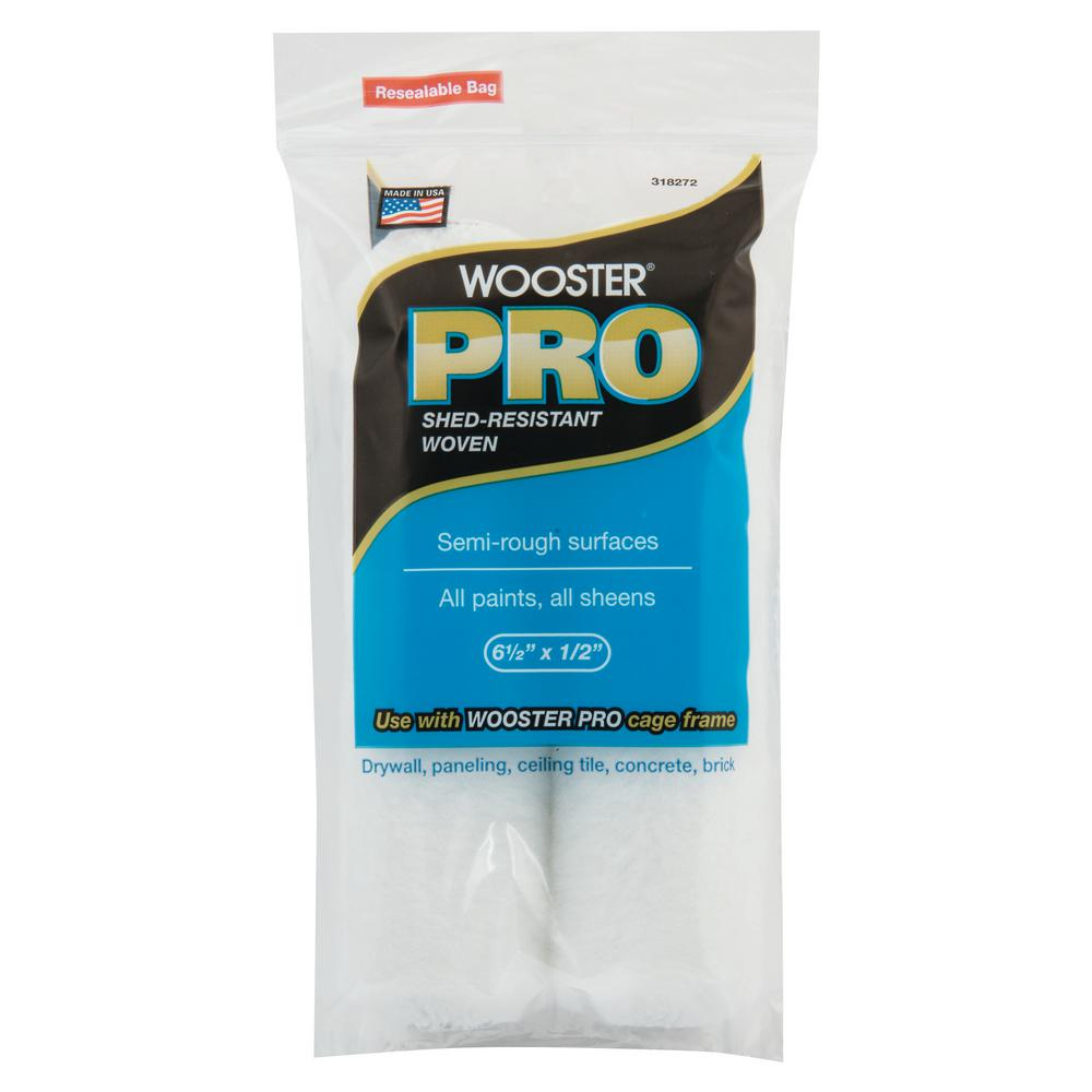 Wooster 6-1/2 in. x 1/2 in. High-Density Pro Woven Cage Frame Roller (2-Pack)
