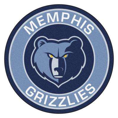 NBA Memphis Grizzlies Blue 2 ft. 3 in. x 2 ft. 3 in. Round Accent Rug