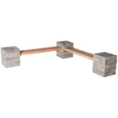 RumbleStone 100 in. x 24.5 in. x 14 in. Concrete Garden Bench Kit in Greystone