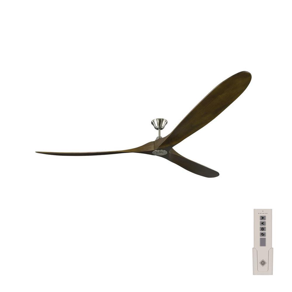 Maverick Grand 99 in. Indoor/Outdoor Brushed Steel Ceiling Fan with Dark Walnut Blades