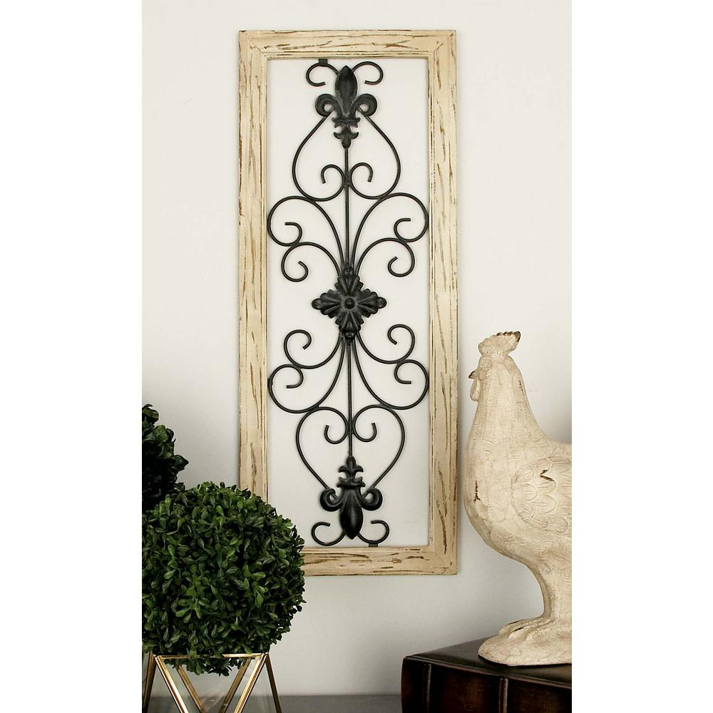 Wood And Metal Multi Colored French Inspired Fleur De Lis And