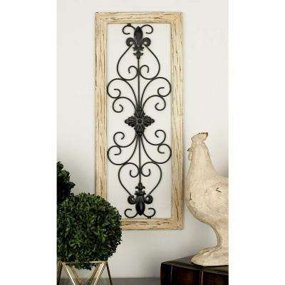 Wood and Metal Multi-Colored French-Inspired Fleur de Lis and Scrollwork Metal Wall Panels (Set of 2)