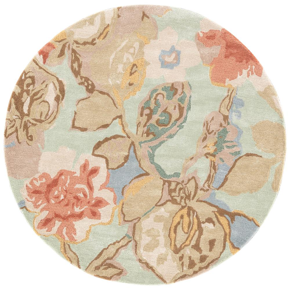 Jaipur Rugs Celadon 6 Ft X 6 Ft Floral Round Area Rug