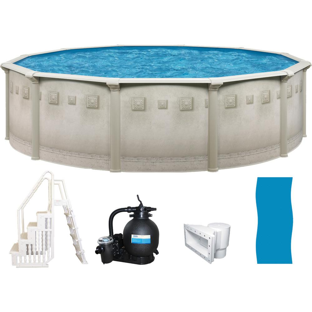 Palisades 21 ft. Round x 52 in. Deep Metal Wall Above Ground Pool Package with Entry Step System