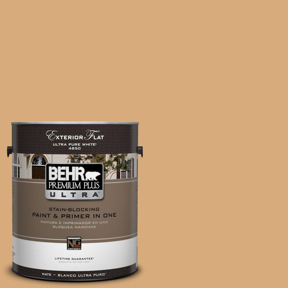BEHR Premium Plus Ultra 1-Gal. #UL150-15 Cork Flat Exterior Paint