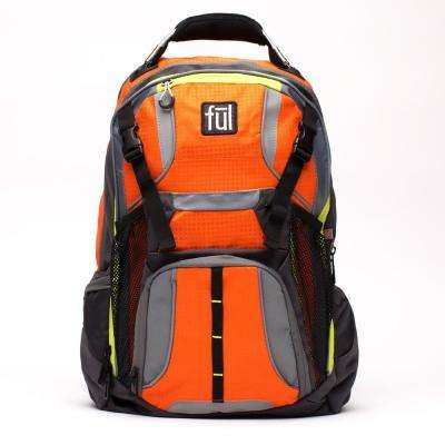 Hexar Padded Laptop Backpack fits up to 17 in. Orange Laptop with Tablet/eReader Sleeve