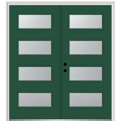 64 in. x 80 in. Celeste Right-Hand Inswing 4-Lite Frosted Painted Fiberglass Smooth Prehung Front Door 4-9/16 in. Frame