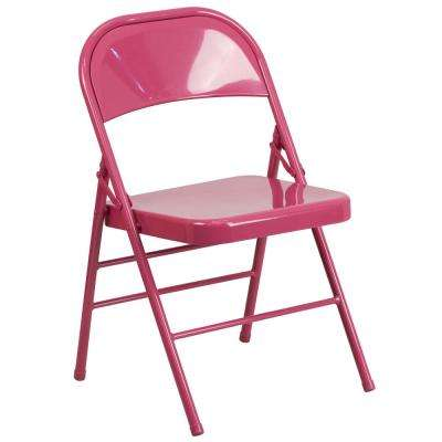 Hercules COLORBURST Series Shockingly Fuchsia Triple Braced and Double Hinged Metal Folding Chair
