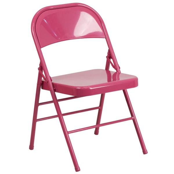 Flash Furniture Hercules COLORBURST Series Shockingly Fuchsia Triple Braced and Double Hinged Metal Folding Chair