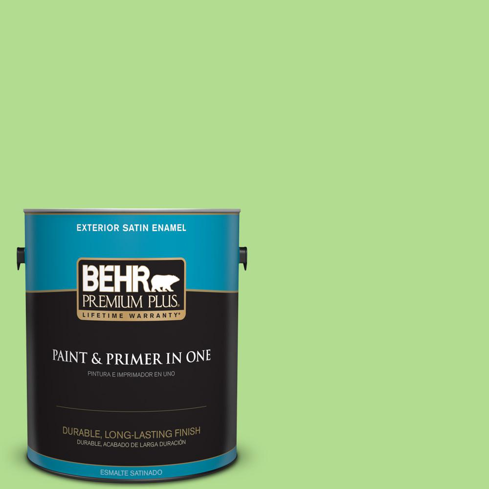 1 gal. #MQ4-46 Early Spring Satin Enamel Exterior Paint and Primer