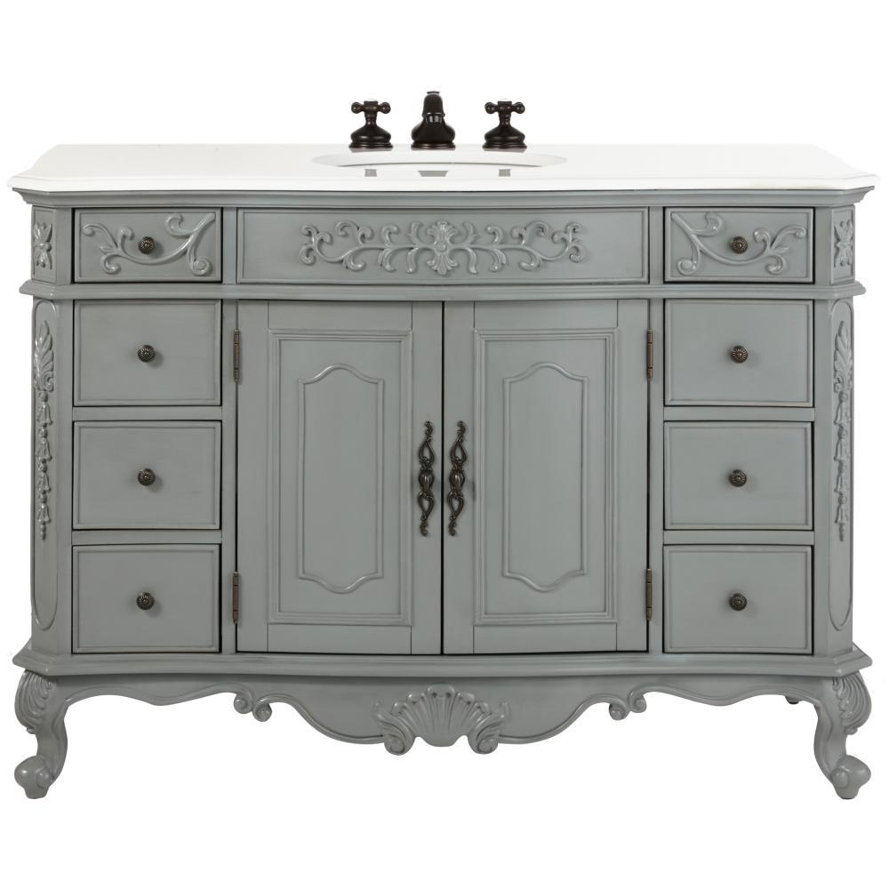 Home Decorators Collection Winslow 48 In. W Bath Vanity In Antique Grey With Marble Vanity Top