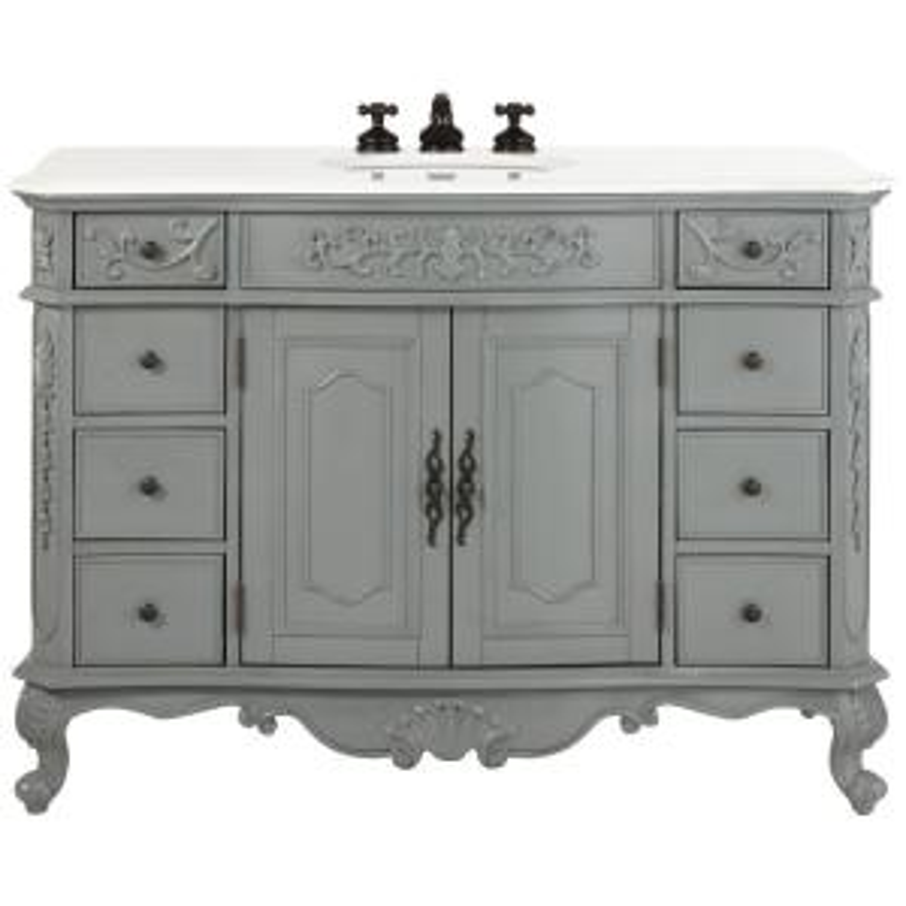 Home Decorators Collection Winslow 48 In W Bath Vanity In Antique Grey With Marble Vanity Top
