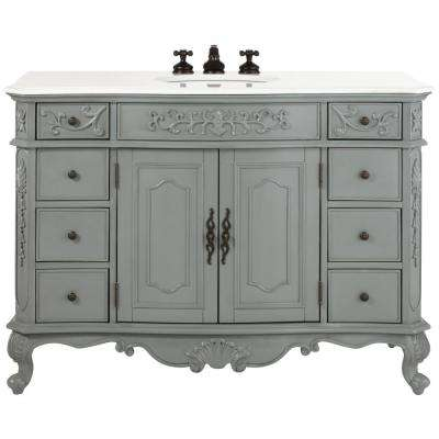 Winslow 48 in. W Bath Vanity in Antique Grey with Marble Vanity Top in White