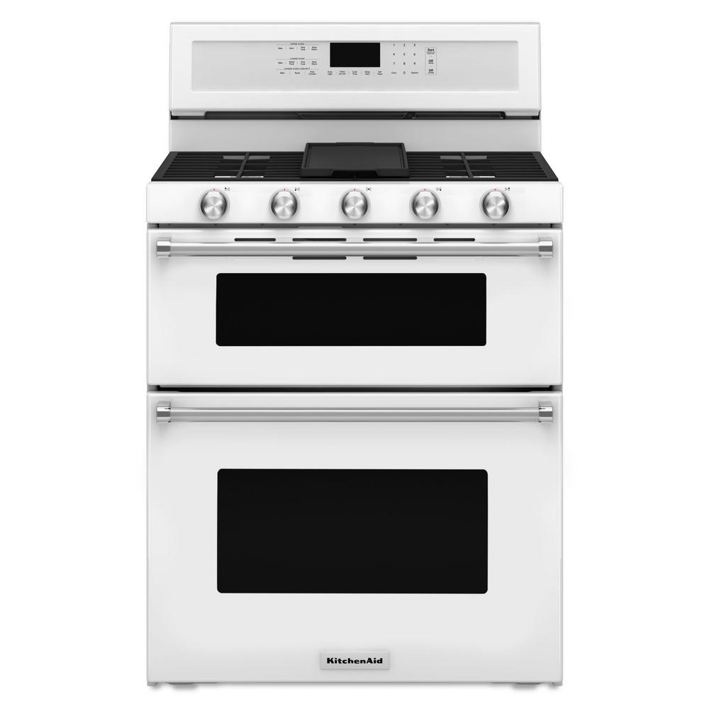 Double Oven Gas Range With Self Cleaning