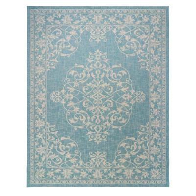 Paseo Ryoan Oasis/Sand 8 ft. x 10 ft. Medallion Indoor/Outdoor Area Rug