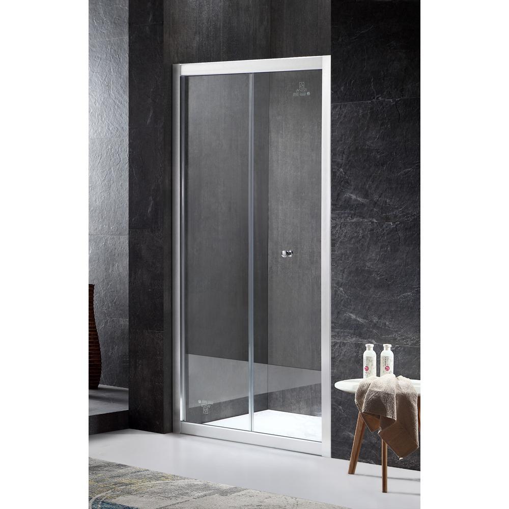 Rampart Reversible 35.43 in. x 71.65 in. Framed Hinged Bi-Fold Shower Door in Brushed Nickel with Handle
