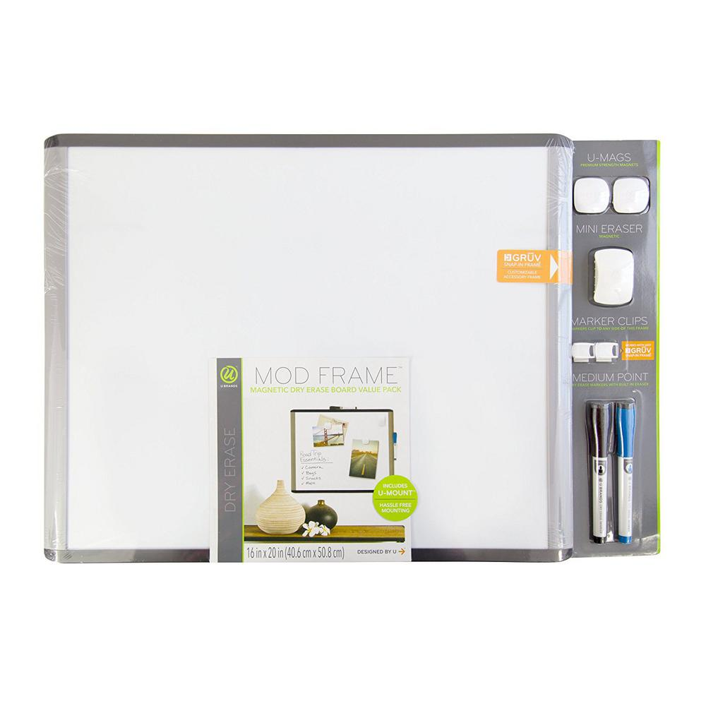 U Brands MOD 20 in. x 16 in. Black and Gray Frame Magnetic Dry Erase ...