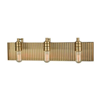Corrugated Steel 3-Light Satin Brass Bath Light