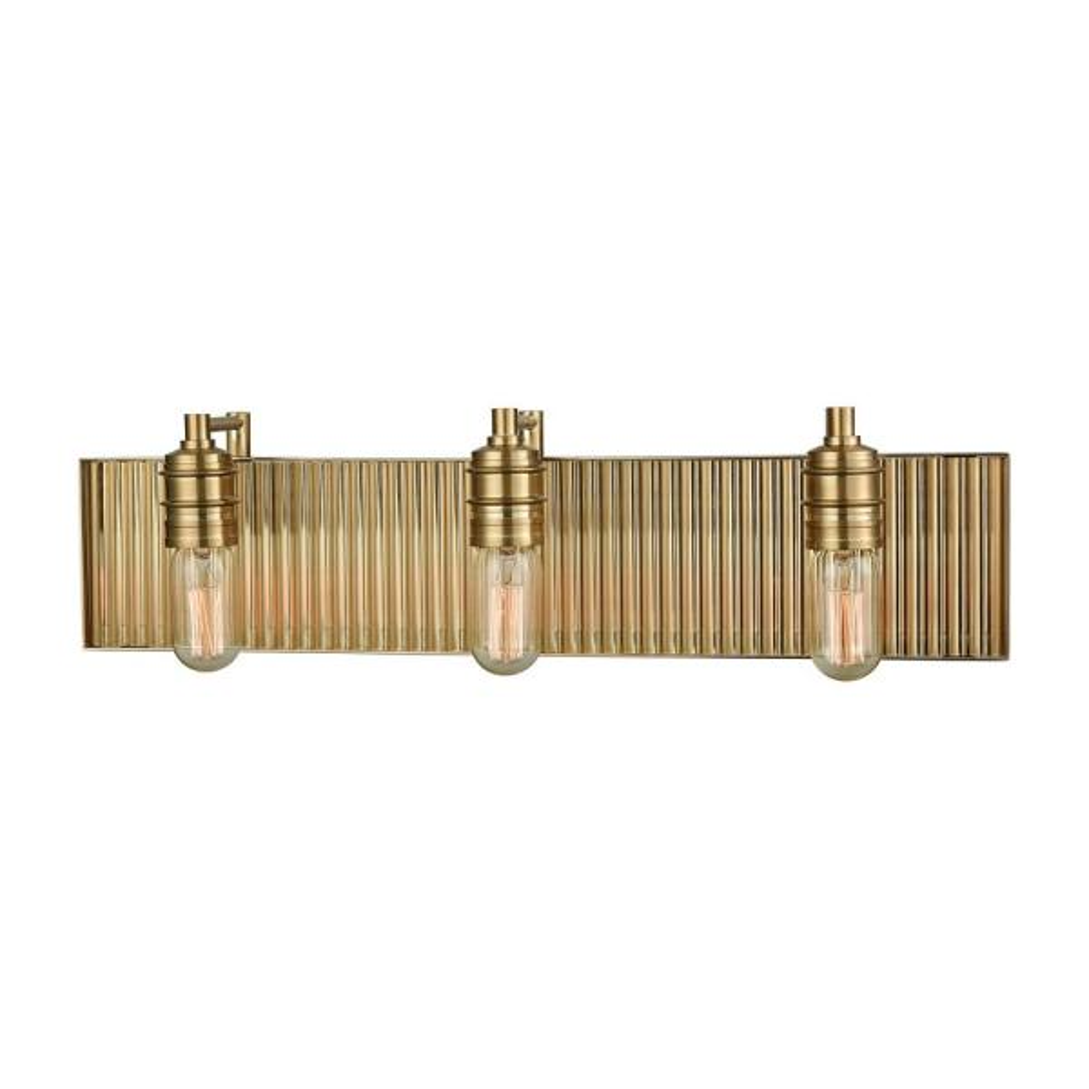 Corrugated Steel 3-Light Satin Brass Bath Light