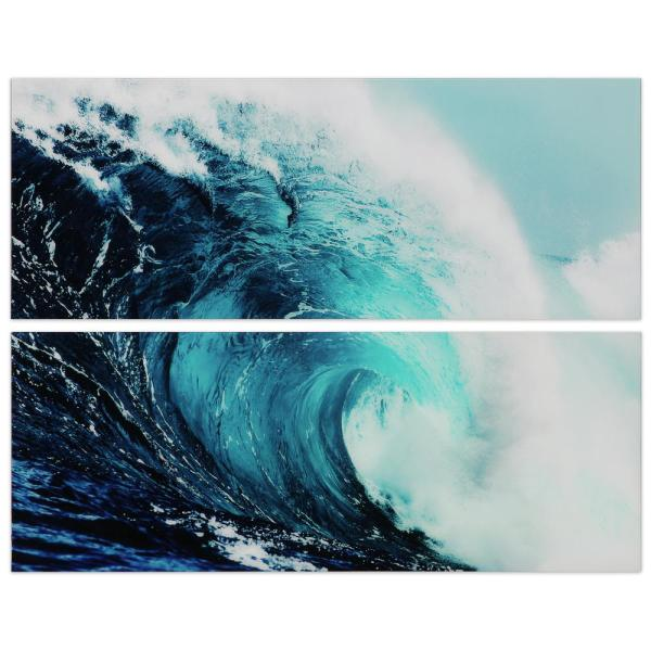 ''Blue Wave'' Abstract Wall Art Printed on Frameless Free Floating Tempered Glass Panel