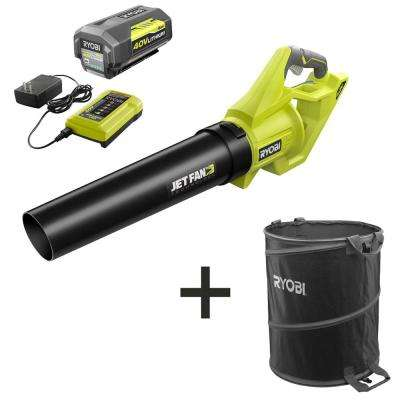 110 MPH 500 CFM 40-Volt Lithium-Ion Jet Fan Leaf Blower with Lawn & Leaf Bag - 4.0 Ah Battery and Charger Included