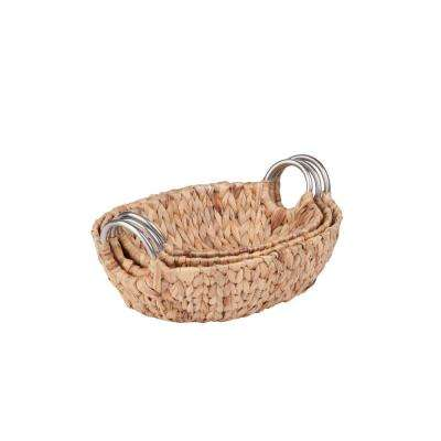 Oval Water Hyacinth Basket Set with Metal Handles (3-Piece)